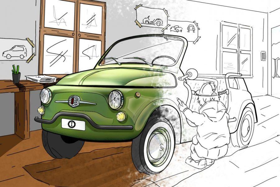 Garage Italia verde lime metallizzato disegno